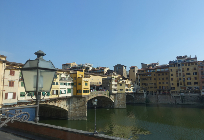 View of Ponte Vecchio and Arno River from Portrait Firenze, Florence Italy