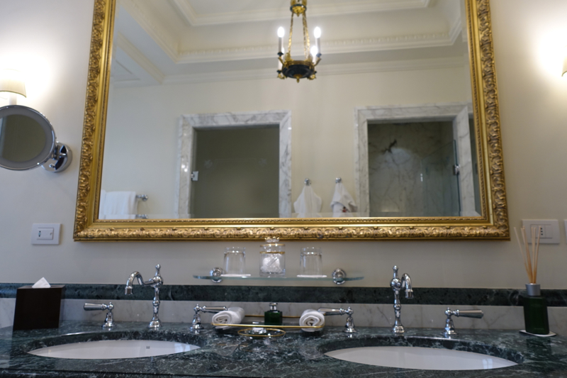 Junior Suite Bathroom with Double Sinks, Four Seasons Firenze Florence Review