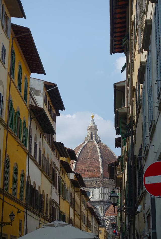 View of Duomo from Via dei Servi, Florence, on our way to the Leonardo da Vinci Museum