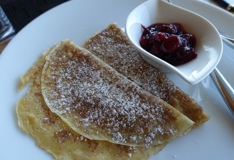 Crepes with Berry Sauce, Breakfast at Sofitel Vienna Stephansdom