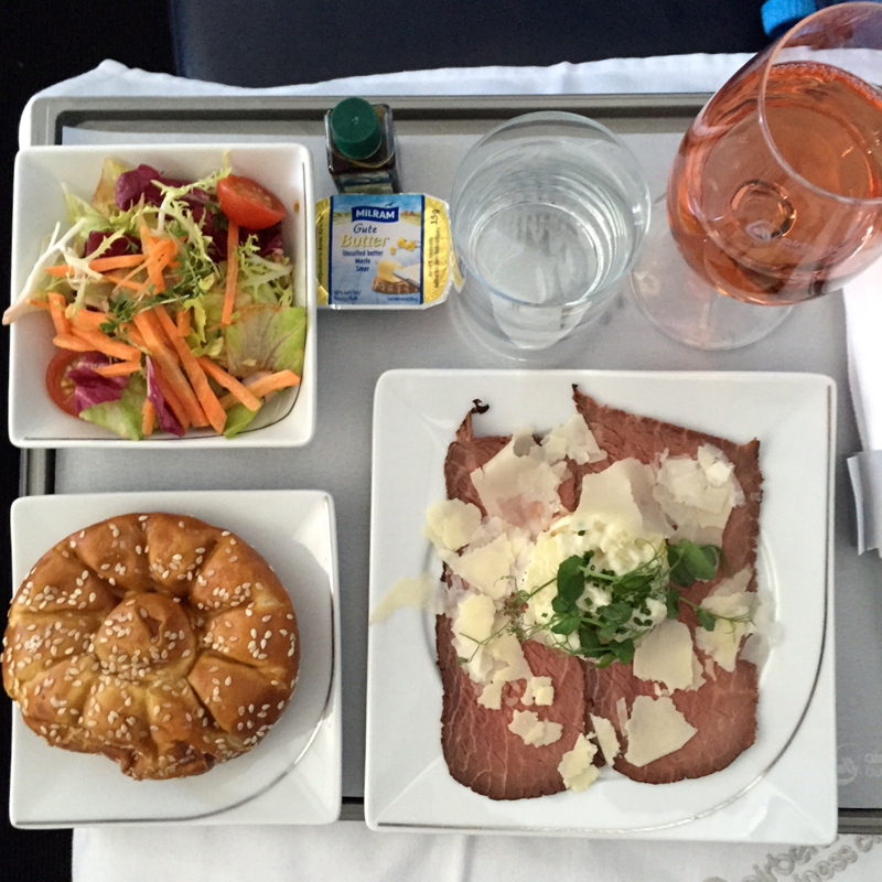 Review-Air Berlin Business Class-Roast Beef Carpaccio Appetizer