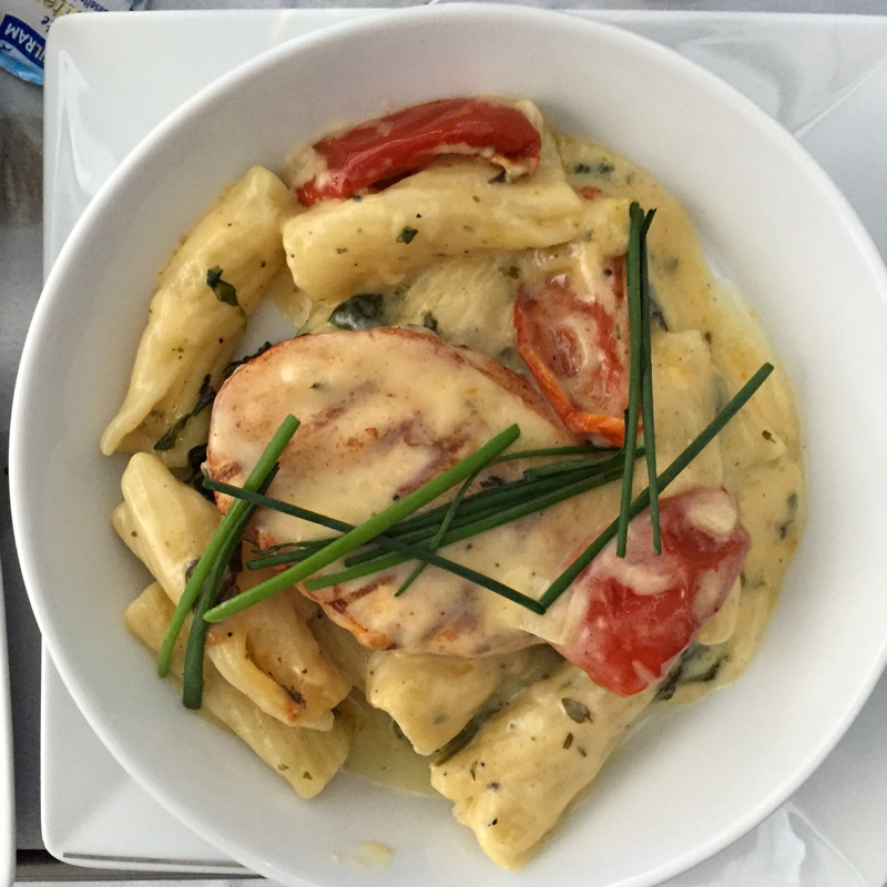 Air Berlin Business Class Review: Grilled Chicken with Tortiglione Pasta and Cream Sauce