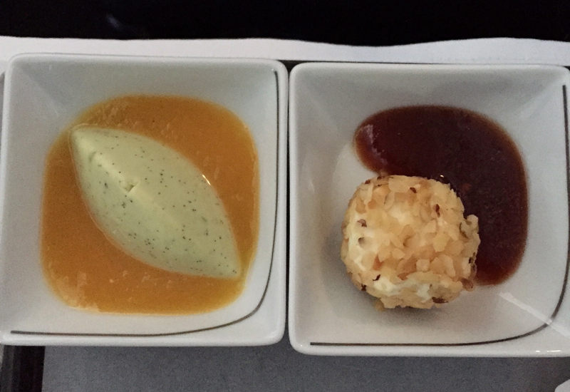 Air Berlin Business Class Review-Pistachio Panna Cotta and Hazelnut Cream Cheese with Grape Confit