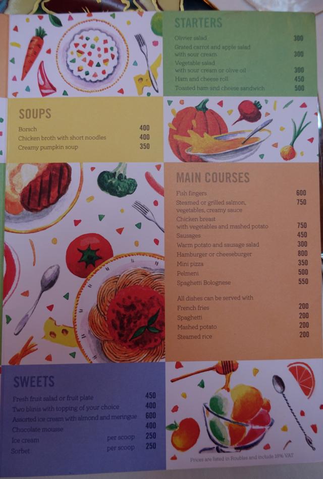 L'Europe Restaurant Kids' Menu, Grand Hotel Europe Review
