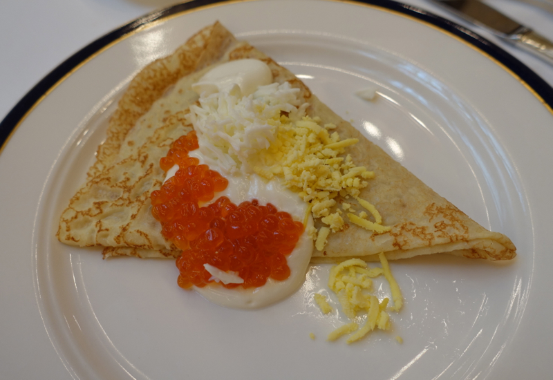 Blini with Caviar and Sour Cream, Breakfast at Grand Hotel Europe