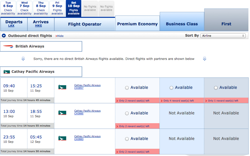 Only 1 Cathay Pacific First Class Award Available with Partner Miles