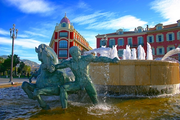 Fountain at Place Massena, Nice, France