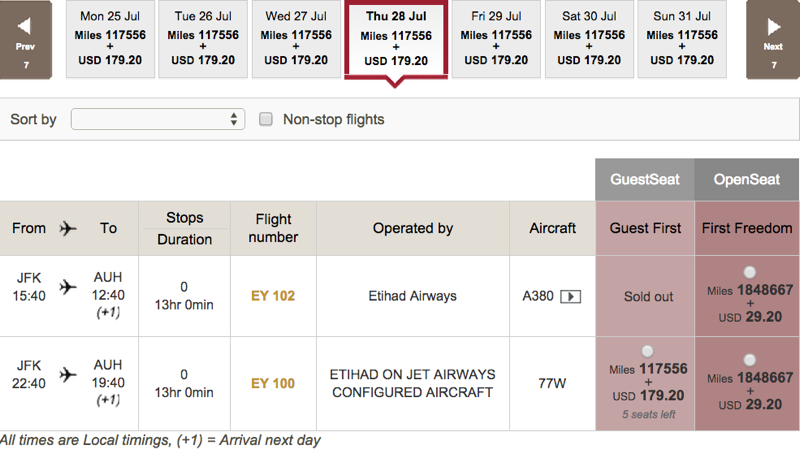 No Etihad A380 First Apartment Award Availability NYC - Abu Dhabi Route