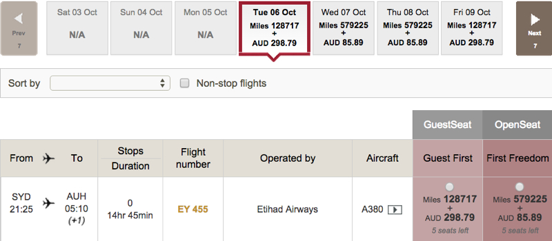 Last Minute Etihad A380 First Apartment Award Availability for Sydney Route