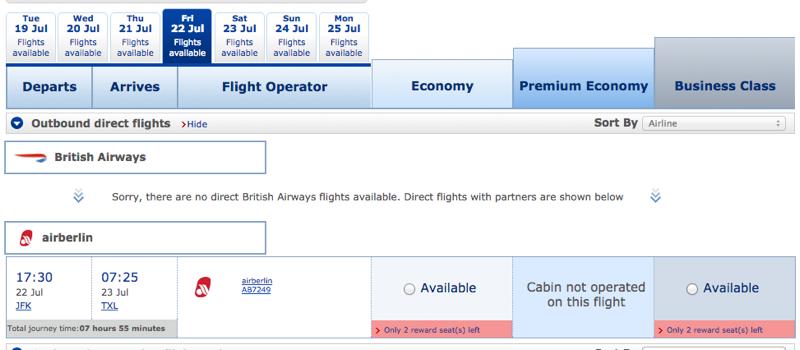 Air Berlin Award Availability