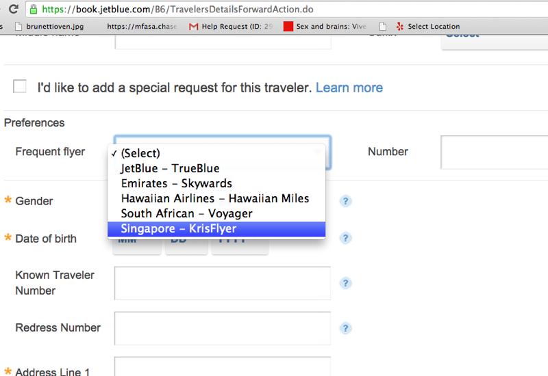 Enter Your Singapore KrisFlyer Number to Earn Miles for JetBlue Flights