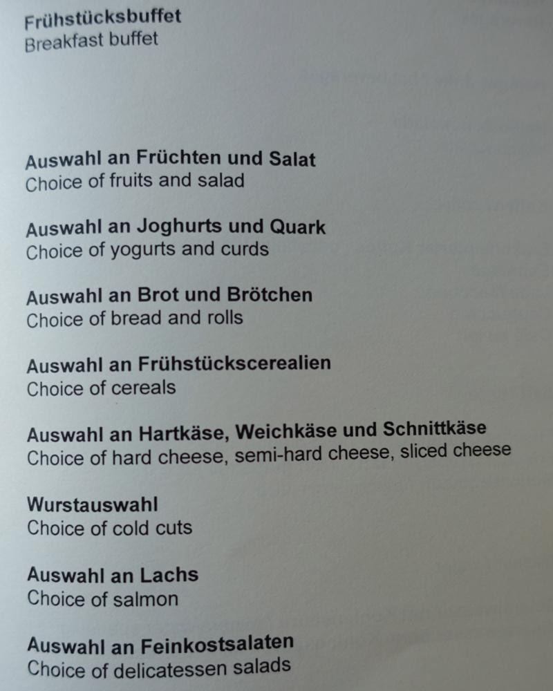 Breakfast Buffet Menu, Club Lounge, Sofitel Berlin Kurfurstendamm Review