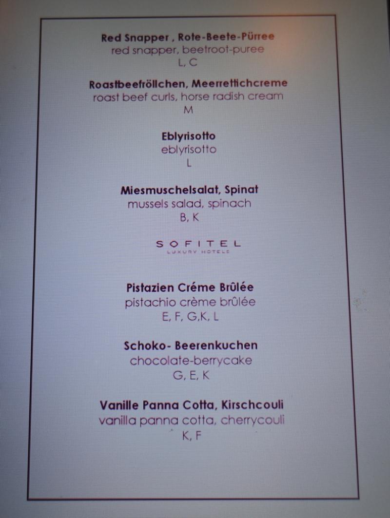 Club Lounge Appetizer Menu Sofitel Berlin Kurfurstendamm