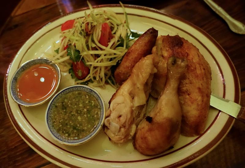 Kai Yang (Rotisserie Chicken) with Green Papaya Salad, Uncle Boons
