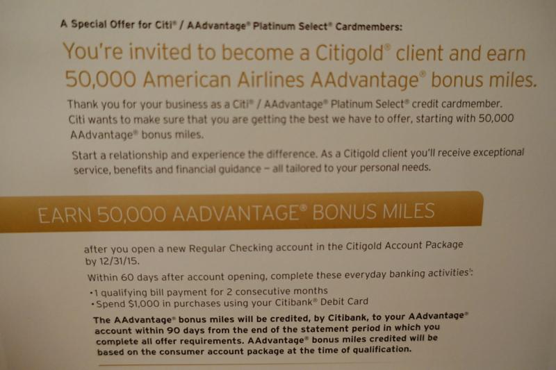 50k Aadvantage Miles For New Citigold Checking Account