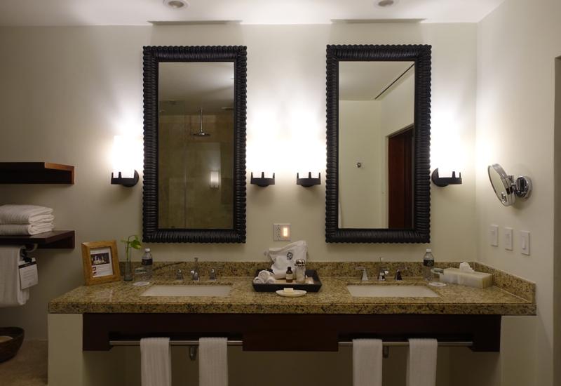 Fairmont Mayakoba Review-Deluxe Casita Bathroom, Double Sinks