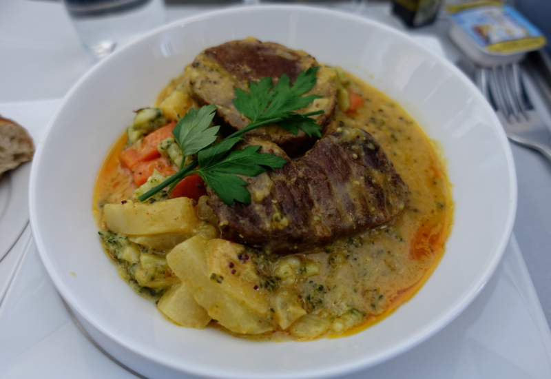 Braised Beef with Dijon Mustard Sauce, Air Berlin Business Class Review