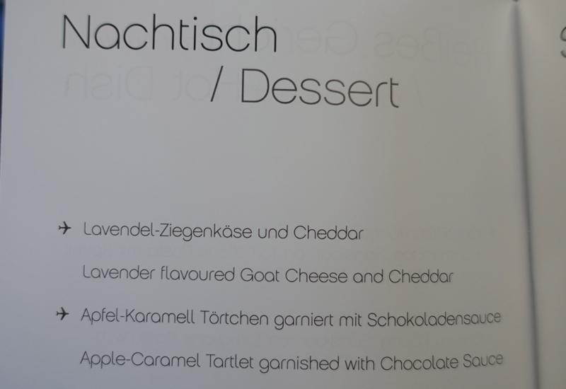 Airberlin Dessert Menu