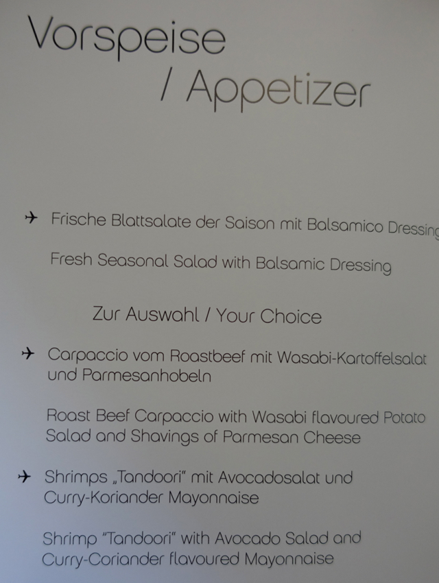 Airberlin Business Class Menu - Appetizers