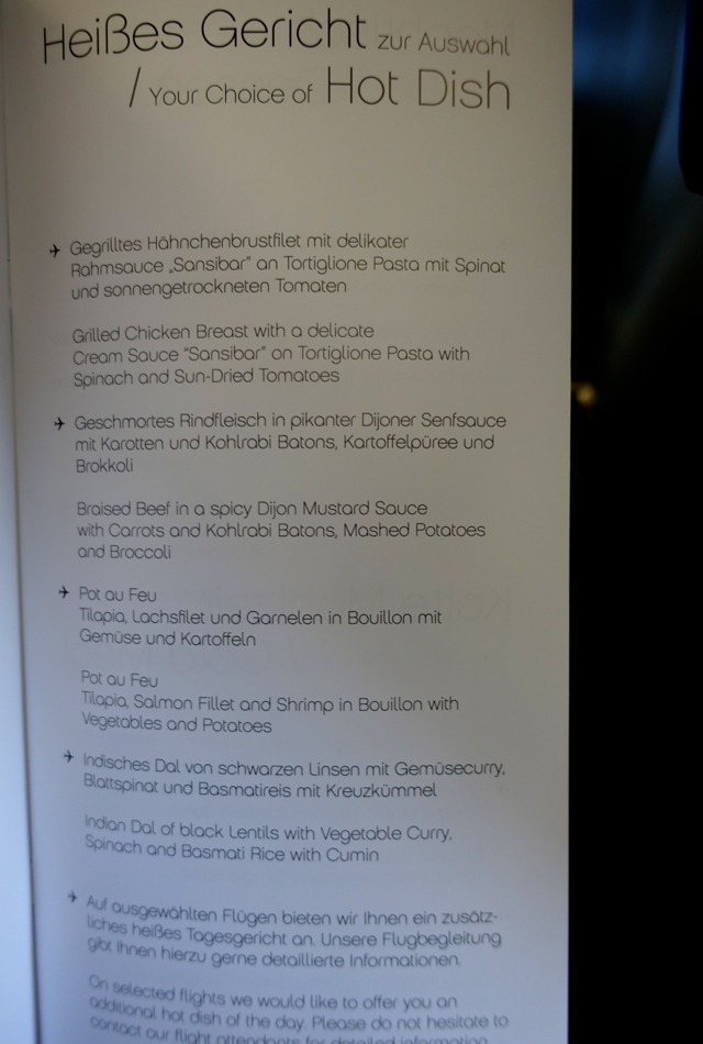 Airberlin Business Class Menu - Hot Dishes for Lunch