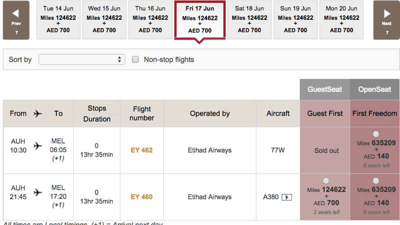 Etihad A380 First Class Apartment Award Space: EY460 AUH to MEL