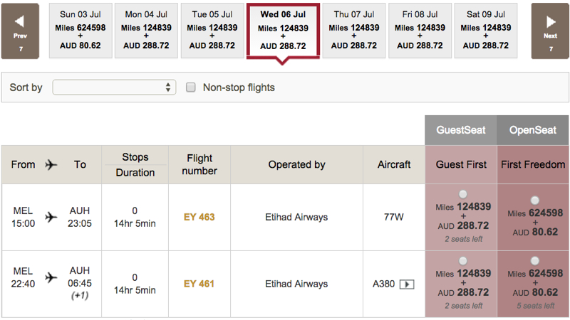 Etihad A380 First Class Apartment Award Space Melbourne Australia to Abu Dhabi