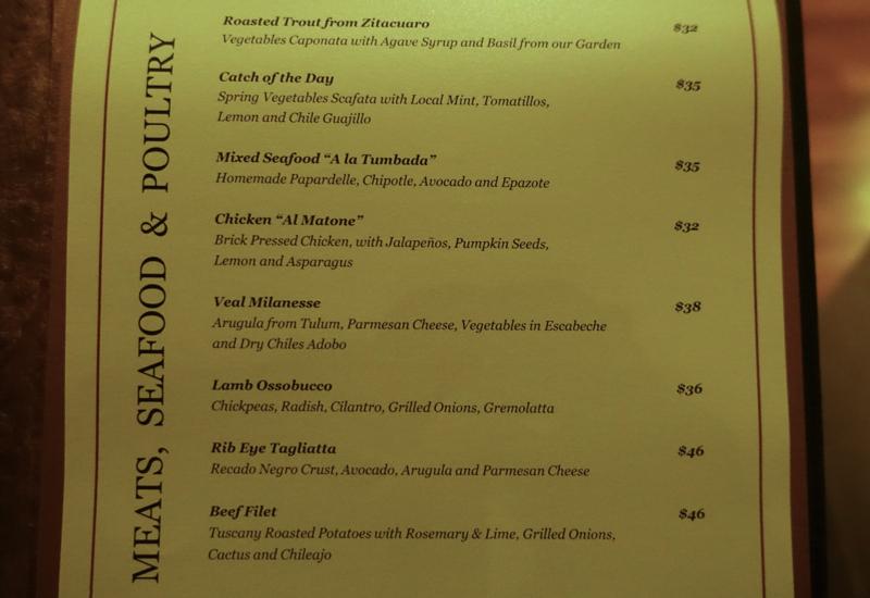 Casa del Lago Menu-Main Dishes-Rosewood Mayakoba Review