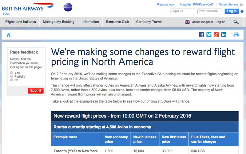 British Airways Devaluation: Bye Bye 4500 Avios Awards in U.S.