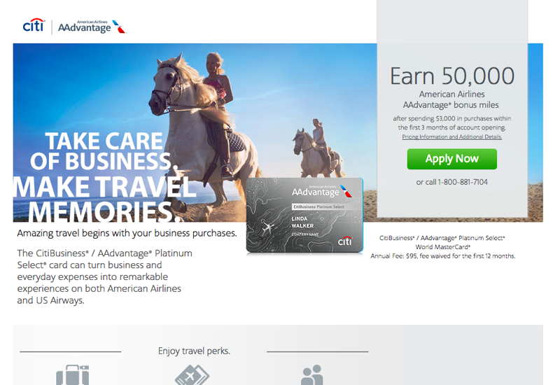 50K CitiBusiness AAdvantage Platinum Select Bonus Offer