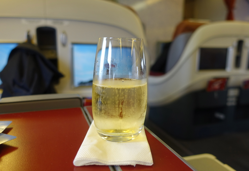 Champagne Pre-Flight Drink, TAM Airlines New Business Class Review
