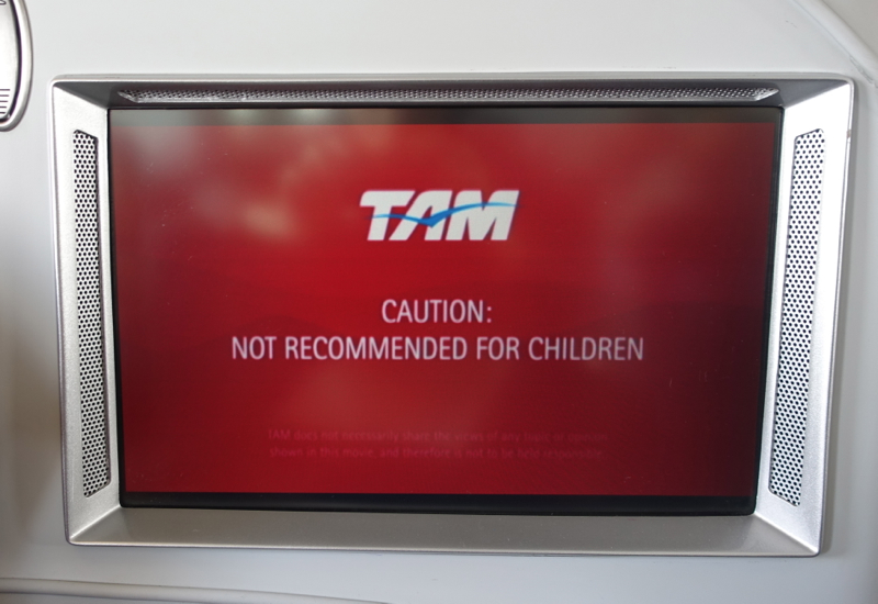 TAM Airlines IFE: Warning That Film Not Recommended for Kids