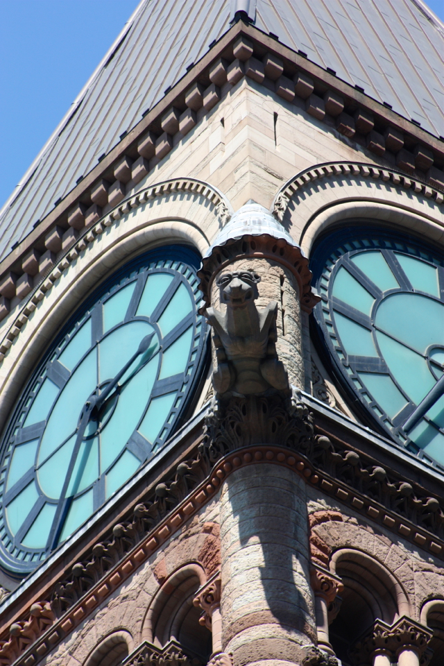 Gargoyle on Old City Hall Clock Tower, LiveToronto Walking Tour Review