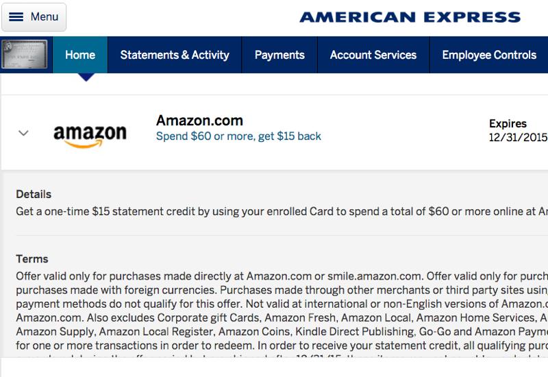 AMEX: $15 Off $60 at Amazon