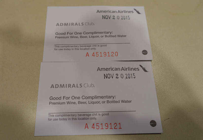 Admirals Club Lounge JFK Terminal 8: Complimentary Drink Vouchers