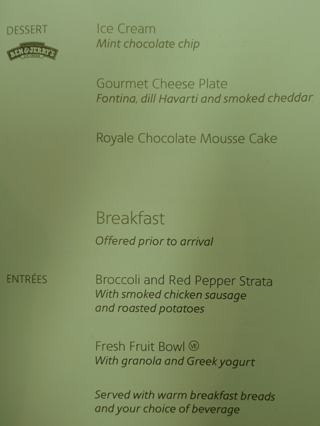 Review-American Airlines Business Class Menu-Dessert and Breakfast