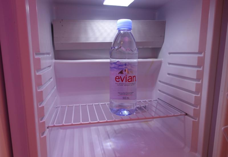 Bottle of Evian, CitizenM Paris CDG Hotel Review