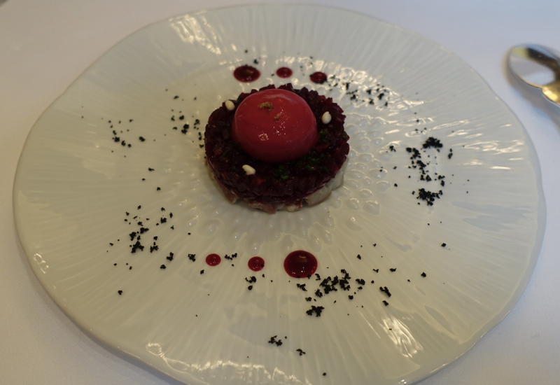 Beetroot and Eel Amuse Bouch, Le Cinq Restaurant Review, Four Seasons Paris