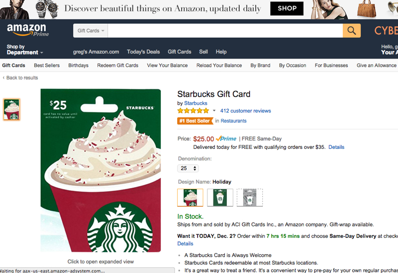 10X on Starbucks with Chase Freedom Amazon Deal