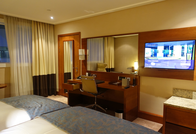 Sofitel London Heathrow Review-Luxury Room Desk and TV