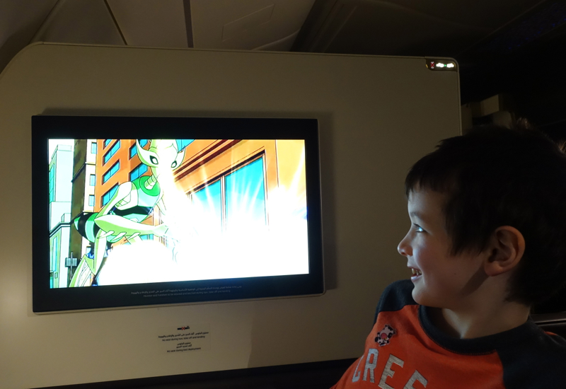 Etihad First Class Apartment A380 Review-Watching Ben 10: Omniverse