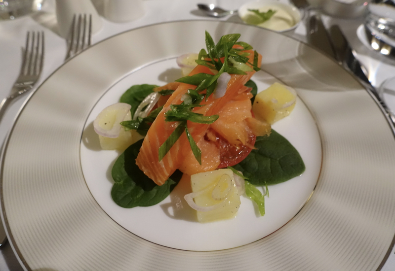 Review-Etihad First Class Apartment A380-Balik Salmon Appetizer
