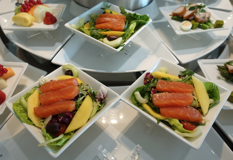 Balik Salmon Salad, Emirates Lounge Review, London Heathrow