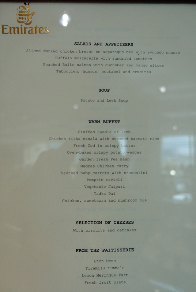 Emirates Lounge London Heathrow Menu