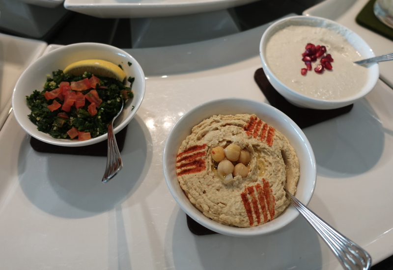 Hummus and Tabouleh Salad, Emirates Lounge Review LHR T3