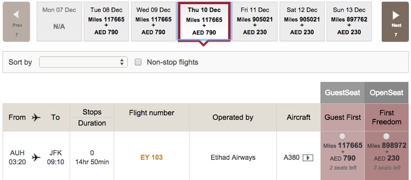 AAdvantage Award Chart Devaluation Strategy: Etihad First Apartment Last Minute Award Space