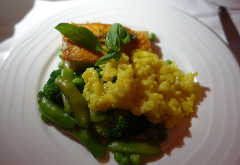 Pan Seared Salmon and Saffron Risotto, Emirates First Class A380