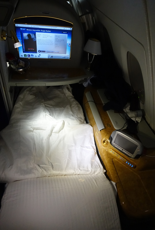 Review-Emirates First Class A380-Bed After Turndown Service