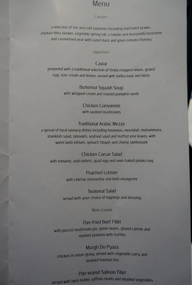 Dinner Menu, Emirates First Class A380 NYC to Dubai