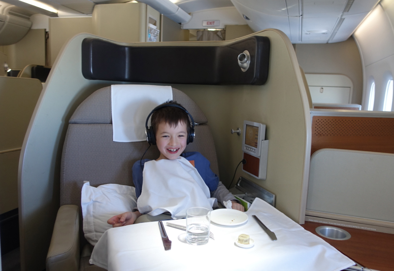 Review: Qantas First Class A380 Seat 3A Angled for Dining, Watching a Moview