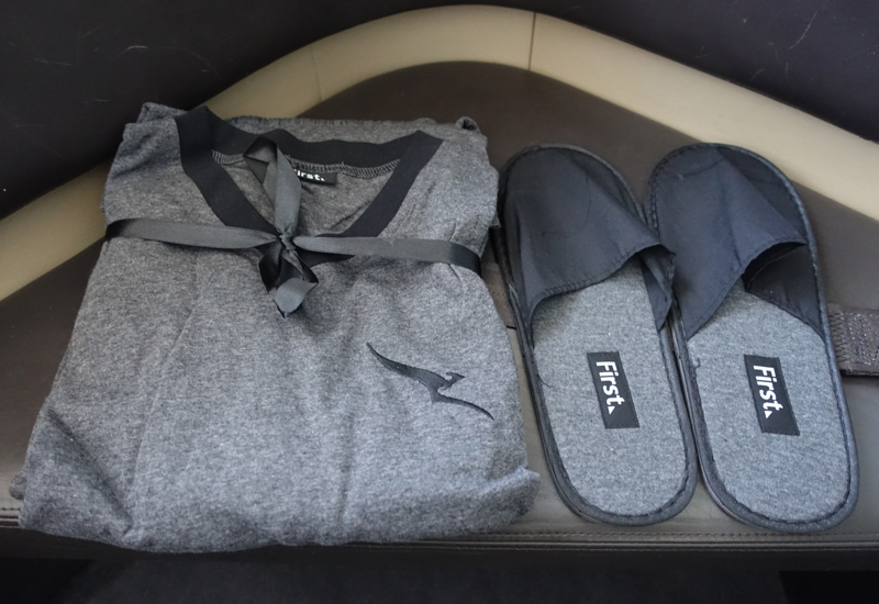 Review: Qantas First Class A380-Pajamas and Slippers